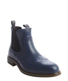 Salvatore Ferragamo blue rubber tooled wingtip rain boots