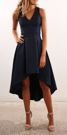 #spring #outfits  Black V-neck Dress + Light Sandals #dressescasual