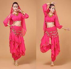 Dmart7dealBelly Dance Costume Bollywood Costume Indian Dress Bellydance Dress Womens Belly Dancing Costume Sets 4 pcs