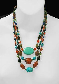• SEMI PRECIOUS MIX • One Of A Kind • With Free Earrings / Shipping! • TOUR  MY 'Art To Wear' GALLERY •