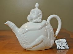 London Pottery White Monkey Ceramic Animal Teapot New with Tag | eBay