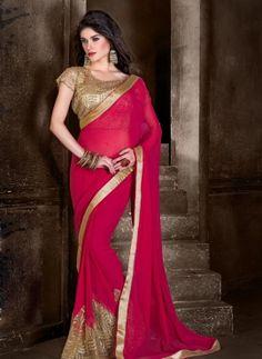 Red wedding wear Indian chiffon saree with designer blouse