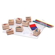 Melissa & Doug Wooden Stamp Set: Dinosaurs - 8 Stamps, 5 Colored Pencils, Stamp Pad Includes: 8 dinosaur stamps, inkpad, 5 colored pencils Promotes creativity and fine motor skills Sturdy wooden box for storage Washable ink Ages 4 years and up Play Doh, Toy Craft, Craft Kits, Paw Patrol, Dinosaur Party Supplies, Lego, Eco Friendly Toys, Stamp Pad, Dinosaur Toys