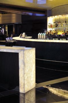 Crown Casino West End Lumia Bar - Back-lit Semi-precious Wild White Crystal Quartz Benchtop   Apex Stone - Australia