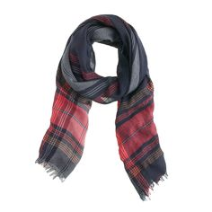 Wool-linen plaid scarf : scarves | J.Crew
