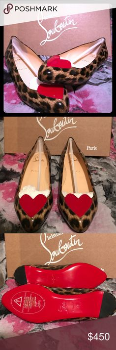 Christian Louboutin 50s Leopord flats These are new, and I don't have the receipt. I don't remember what I paid, but you can see they are new and yes 100000000% authentic. They do not come with a dust bag and I wear a 7. The size shows 38, but fits like a 7.            Please make sure you know your size with this designer Christian Louboutin Shoes Flats & Loafers