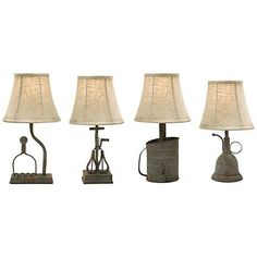 Traditional kitchen objects are built into the designs of this set of four, galvanized iron accent lamps that each have a different look.