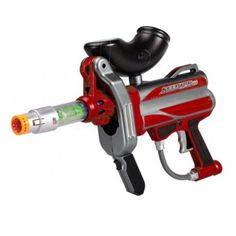 Battle MAX MarkerBall Sceptor v1.0 Projectile Gun Red Features: World's first high-performance backyard marker Specially designed to shoot low-impact FOAM-SHOT balls Fires accurately up to 50 feet (ca