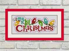 My First Christmas,Merry Christmas,Cross Stitch Pattern, cross stitch quote,BOGO, D064
