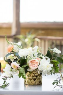 Gold geometric accented floral centerpiece: http://www.stylemepretty.com/texas-weddings/dallas/2015/08/19/intimate-romantic-dallas-spring-wedding/ | Photography: Ben Q. Photography - http://benqphotography.com/: