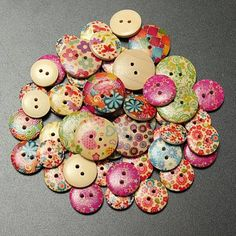 10pcs 18mm Flower Printed Wooden Button Craft Colorful DIY Sewing Crafts Clothes Decoration