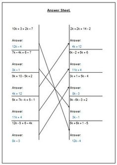 Worksheet activity that involves simplifying expressions