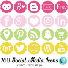 Social Media Icons (pink, green, yellow): These social buttons are perfect for blogs (wordpress and blogger) as well as TpT product pages.There are two sizes of…