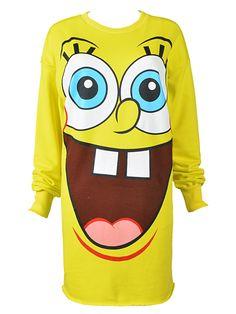Yellow SpongeBob Pattern Long Sleeve T-shirt   Choies
