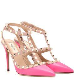Rockstud Leather Pumps by: Valentino @Mytheresa (INTL) Rockstud Pink Leather Pumps By Valentino