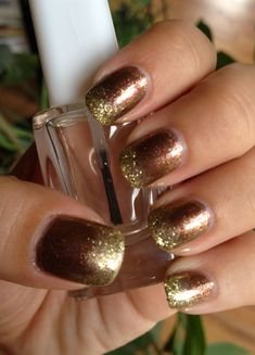 Nail Art inspiration: Autumn. Great way to fix tip wear.