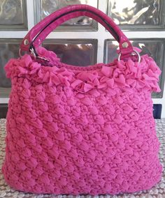 Shopping bag Matilde. Fondo e manici in similpelle. Uncinetto. Crochet.