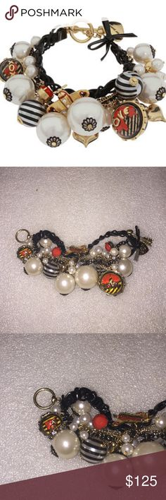 Betsey Johnson bracelet Selling to buy Betsey pieces I need. This is from the Miami chic collection. The bracelet is black tone. The charms include faux pearls, striped pearls, red bead, an airplane, puffy hearts. Super rare NWT Betsey Johnson Jewelry Bracelets