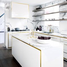 .@styleathome: #DecorCrush: This glamorous #kitchen outlined in #gold! Need we say more? {Photo: @virginmacdonald | Design: @tfiinc}