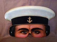 Lifelike paper half mask of British Sailor by ScarlettsFancies, $12.00