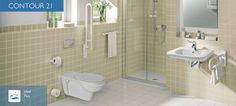 Ideal Standard Contour 21    Contour 21 ergänzt die Linie Connect, um Produkte zur professionellen Ausstattung von Sanitärräumen, die speziellen Anforderungen und Bedürfnissen durch ihre Benutzer unterliegen. Wenn es beispielsweise um die Gesundheit geht, spielen Sauberkeit und Hygiene eine besonders wichtige Rolle. Menschen mit Handicap brauchen Produkte, die Ihnen das Leben erleichtern, indem diese die hygienischen und funktionalen Voraussetzungen dafür bieten. Bad Inspiration, Bathroom Inspiration, Ideal Standard, Corner Bathtub, Toilet, 21st, Contemporary, Mirror, Contour