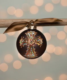 Look what I found on #zulily! Brown Bold Cross Glass Ornament by Glory Haus #zulilyfinds