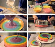 "Bake a normal butter, sponge or white cake and separate the batter into bowls. Add a different food coloring to each bowl. Spoon or pour each color into pre-buttered baking pan and bake. It can also be ""marbled,"" so it's all pretty. Marble by twisting a fork or knife through the colors"