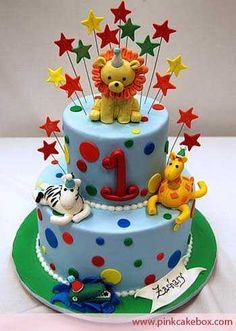 Birthday Animal Cake by Pink Cake Box in Denville, NJ. More photos at… Animal Birthday Cakes, Unique Birthday Cakes, Baby Birthday Cakes, Baby Cakes, Cupcake Cakes, Circus Birthday, Birthday Ideas, Happy Birthday, 1st Birthday Cakes For Boys