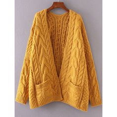 Ginger Drop Shoulder Cable Knit Cardigan With Pockets ($44) ❤ liked on Polyvore featuring tops, cardigans, yellow, long tops, long sleeve cardigan, long yellow cardigan, embellished cardigan and cocoon cardigan
