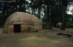 Wigwams in a traditional Powhatan Indian village near the historic Jamestown settlement in Virginia