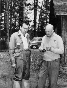 """Dwight D. Eisenhower, left, teaches running mate Richard M. Nixon the art of fly-fishing in 1952. From the book """"Ike & Dick: Portrait of a Strange Political Marriage"""" by Jeffrey Frank (S&S, Feb. 2013). (Credit: Dwight D. Eisenhower Presidential Library)"""