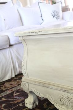 Old Ochre chalk paint and dark wax...great update to tired furniture!!