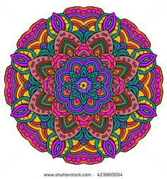 Round symmetrical pattern in yellow and violet colors. Mandala. Kaleidoscopic design. Mandala. Yoga.