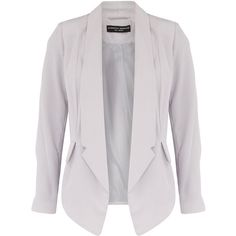 Silver babysilk soft drape collar jacket with pocket detail. Shoulder to hem measurement 68cm. 100% Polyester. Machine washable.
