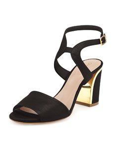 Chloe Leather Curve-Heel Sandal in Black #Chloe