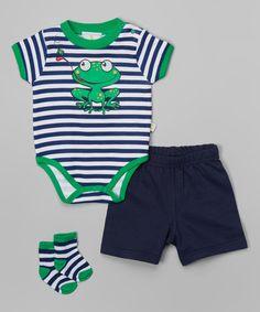 Another great find on #zulily! Navy & Green Stripe Frog Bodysuit Set by Duck Duck Goose #zulilyfinds