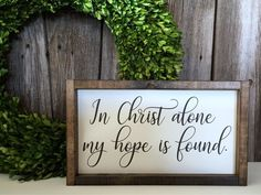 Handmade wood signs by JamesandAlice Christian Decor, In Christ Alone, Painted Wood Signs, Wood Canvas, Used Vinyl, Rustic Signs, Painting On Wood, Wood Grain, Handmade