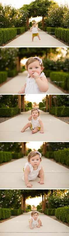 One year Baby Girl Photos  | Garden | Green and Purple