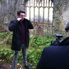 Mark Baker filming at Gwrych Castle, Abergele for Gwrych Castle Preservation Trust, 2013.
