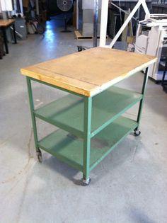 Three Shelf Metal Industrial Cart by Assedis on Etsy