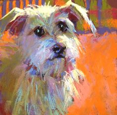 Ooohhhh izzy this way by her aunt Susan  Small Pastel Studies by Margaret Dyer: MAN'S BEST FRIEND, click to bid