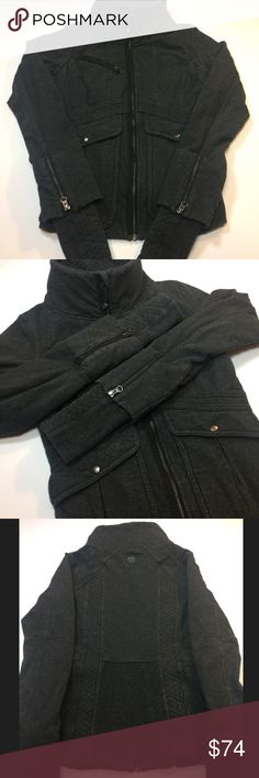 Lululemon It's Happening Zip up Excellent condition! Very warm and snug fitting. 22.5 inches in length. Chest measures 36 inches. Thumbholes. 5 pockets in front. Size is a 10 but fits more like a 6... Smoke free and pet free home. lululemon athletica Jackets & Coats