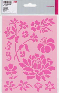 Efco Pochoir Fleurs dans 10Designs, en plastique, transparent, A5
