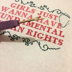 "plasticlittlecovers on Instagram - ""Girls just wanna have fundamental human rights."" cross stitch hand embroidery"