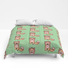 Yoga lover Fox Comforters by Salome | Society6