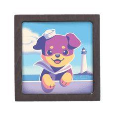 #Rottweiler Puppy Sea Dog Sailor Jewelry Box - #rottweiler #puppy #rottweilers #dog #dogs #pet #pets #cute