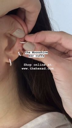 Add a touch of sparkle to your ear party with the Moonshine ear cuffs ✨no piercings needed, just slide on as shown. Discover more at www.thehexad.com Daith Piercing, Faux Piercing Oreille, Piercing Face, Cute Ear Piercings, Peircings, Piercing Tattoo, Tongue Piercings, Finger Piercing, Cartilage Earrings