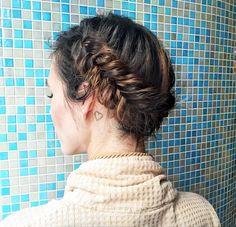 Halo braid - fishtail halo braid with mid length hair