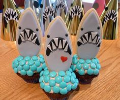 SDB JAWS cookie cupcake topper_Jaws cookie Jaws party hat