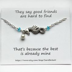Best friend jewelry Silver seahorse pearl ankle by SaraBeckaH, $13.99